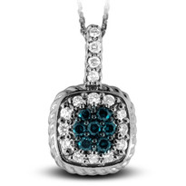 White Gold Pendant with Blue Diamond Center set in 14k White Gold (.45ct)