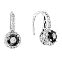 "Black and White ""Tuxedo"" earring set in 14K white gold (1.00ct)"