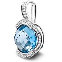 Blue Topaz Pendant Set in 14k White Gold (.15ct)