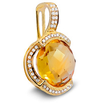 Citrine Pendant set in 14k Yellow Gold (.15ct)
