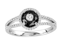 Tuxedo Ring with black and white diamonds .(.50ct)