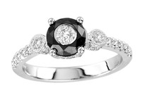 Tuxedo Ring with Black and White Diamonds (1.00ct)