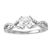 14k White Gold Diamond Engagement Multirow Ring (1.14
