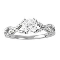 14k White Gold Diamond Engagement Multirow Ring (1.14