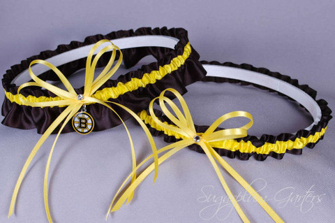 Boston Bruins Wedding Garter Set