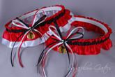 Chicago Blackhawks Wedding Garter Set (in Black on Red)