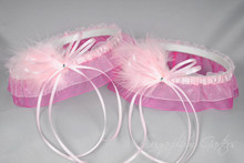 Wedding Garter Set in Pale Pink & Hot Pink with Swarovski Crystals & Marabou Feathers