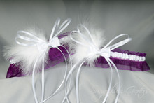 Wedding Garter Set in Plum & White with Bow Ties & Marabou Feathers