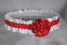 Wedding Garter in Red & White Satin with Handmade Rose