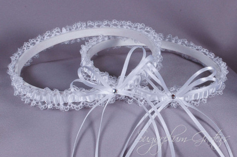 Wedding Garter Set in White Satin & Lace with Swarovski Crystals