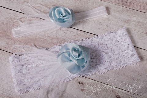 Wedding Garter Set in Pale Blue Silk & White Lace with Ostrich Feathers