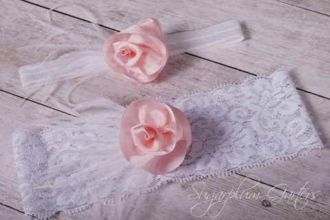Wedding Garter Set in Blush Pink Silk & White Lace with Ostrich Feathers