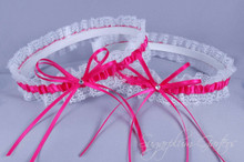 Wedding Garter Set in Hot Pink Satin & Lace with Swarovski Crystals