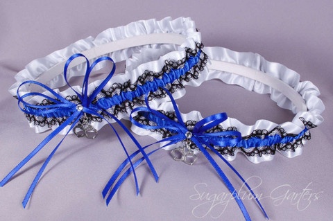 Thin Blue Line Police Officer Lace Wedding Garter Set