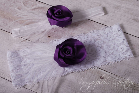 Wedding Garter Set in Plum Silk & White Lace with Ostrich Feathers