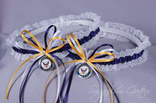 United States Navy Lace Wedding Garter Set