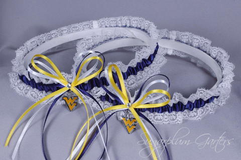 West Virginia University Mountaineers Lace Wedding Garter Set