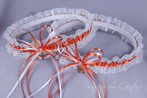 University of Texas Longhorns Lace Wedding Garter Set