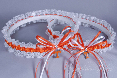 University of Tennessee Vols Lace Wedding Garter Set