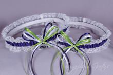 Seattle Seahawks Lace Wedding Garter Set