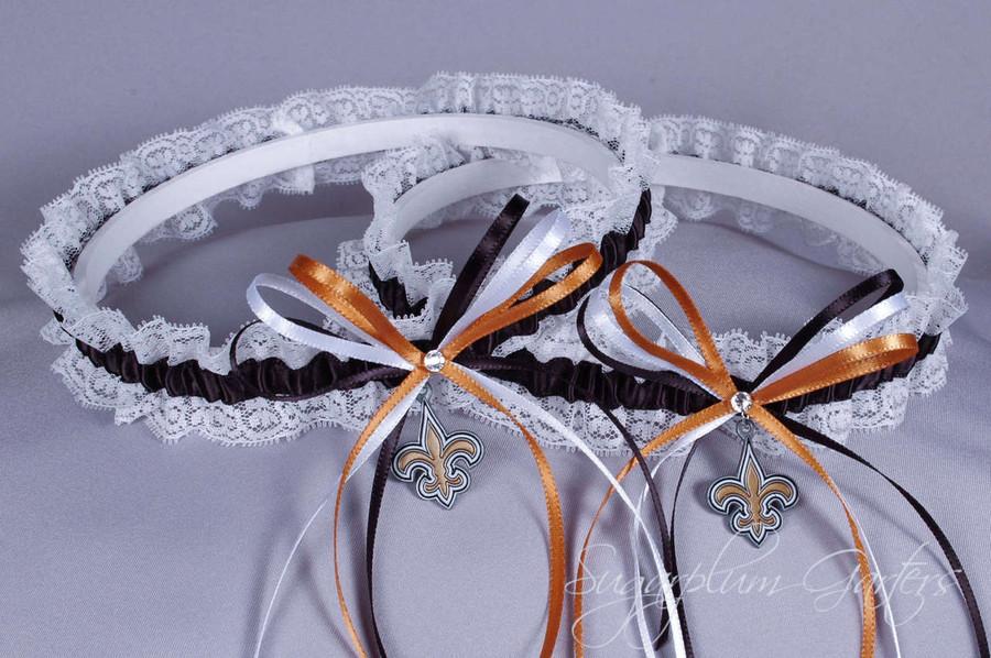 c334c32225e New Orleans Saints Lace Wedding Garter Set - Sugarplum Garters