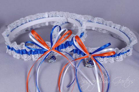 Boise State University Broncos Lace Wedding Garter Set