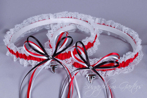 Atlanta Falcons Lace Wedding Garter Set