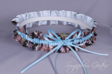 Something Blue Wedding Garter in Pale Blue & Realtree Camouflage Grosgrain with Swarovski Crystal ~ Ready to Ship