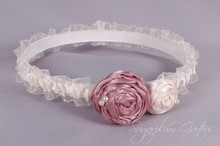 Wedding Garter in Champagne & Ivory with Rosette Roses
