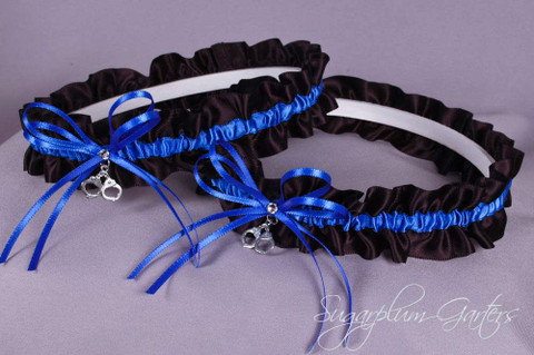 Thin Blue Line Police Officer Wedding Garter Set with Handcuff Charms