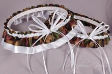 Wedding Garter Set in Camouflage & White Satin with Swarovski Crystals
