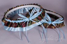 Something Blue Wedding Garter Set in Pale Blue & Camouflage Satin with Swarovski Crystals