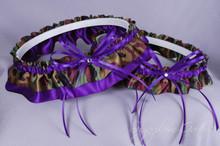 Wedding Garter Set in Purple & Camouflage Satin with Swarovski Crystals
