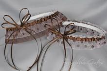 Wedding Garter Set in Pale Pink Polka Dot & Chocolate Brown with Swarovski Crystals