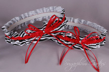 Wedding Garter Set in Red & Zebra Print Grosgrain with Swarovski Crystals