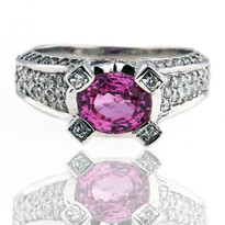 14kt White Gold Pink Sapphire Ring w. Diamond