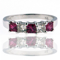 Pink Sapphire and G Color Diamond Ring