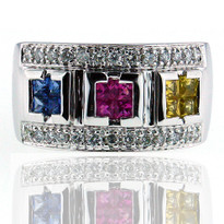 Multi Color Sapphire Diamond Ring