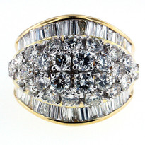 14kt Two Tone Diamond Cluster Ring