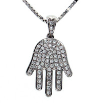 18kt White Gold Diamond Hamsa