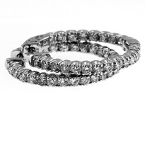 Diamond Hoop Earrings set in 14kt White Gold