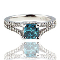 14kt WG Blue Diamond Engagement Ring