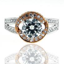 18kt Rose+White Diamond Engagement Ring