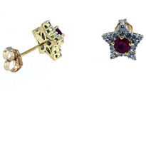 Star Ruby and Diamond Earrings