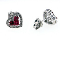 Heart Shaped Ruby Diamond Earrings