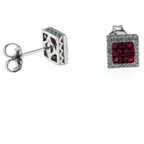 Ruby and Diamond Earring in 18kt White Gold