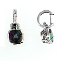 14kt White Gold Mystic Topaz Earrings w. Dia