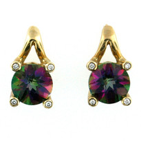 14kt Yellow Gold Mystic Topaz Diamond Earring