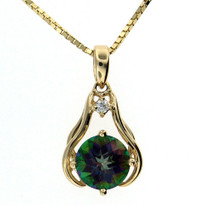 Mystic Topaz Diamond Pendant in Yellow Gold