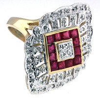 Ruby Diamond Ring in 14kt Two Tone Gold
